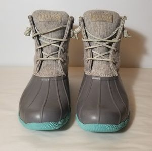 Sperry Saltwater Duck Boots Aqua Turquoise Grey